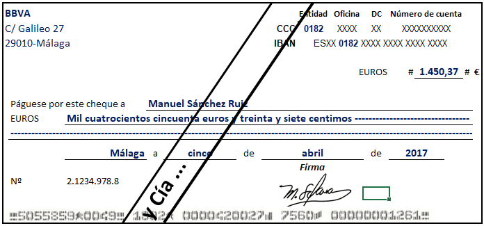 Cheque cruzado general